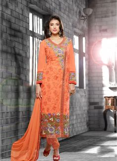 Trendy Orange Georgette Churidar Salwar Suit