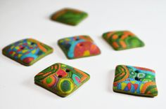 Set of 6 square BUTTONS Polymer clay buttons by MylesCreations