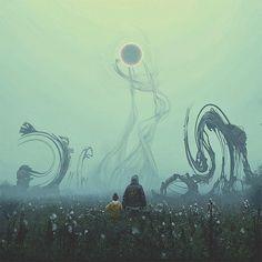 Black Hole Sun :: Won't You Come? Fantasy Places, Fantasy World, Dark Fantasy, Cthulhu, Fantasy Kunst, Fantasy Art, Mundo Design, Science Fiction Kunst, Wow Art