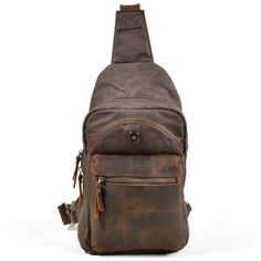 Vintage Genuine Leather Canvas Waterproof Outdoor Casual Sling Bag Chest Bag Crossbody Bag For Men is hot-sale, many other cheap crossbody bags on sale for men are provided on NewChic. Cheap Crossbody Bags, Canvas Crossbody Bag, Small Crossbody Bag, Waxed Canvas, Canvas Leather, Leather Bags, Shoulder Sling, Shoulder Bag, Men's Backpack