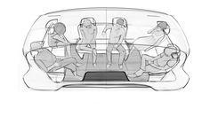 """Double Street"" Concept Moves Seoul Toward Smarter Mobility Car Interior Sketch, Bus Interior, Car Interior Design, Interior Design Sketches, Industrial Design Sketch, Car Design Sketch, Interior Concept, Car Sketch, Automotive Design"