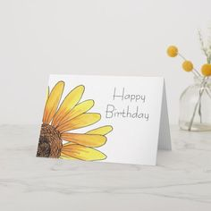 Shop Sunflower Birthday Card created by PaperHugs. Happy Birthday Cards Handmade, Creative Birthday Cards, Simple Birthday Cards, Homemade Birthday Cards, Birthday Cards For Friends, Homemade Cards, Birthday Card For Grandma, Birthday Cards To Make, Diy Cards For Friends