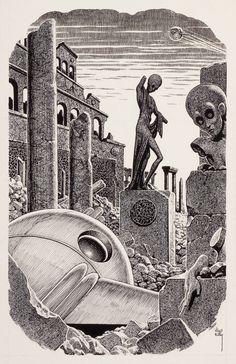 virgil finlay - mercenaries unlimited, probable science fiction digest interior illustration