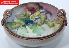 Nippon Molded Relief Blown Out 3 D Peanut Nut Bowl