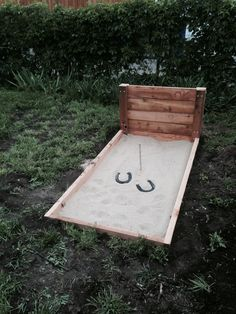 Horse shoe pit my husband built this weekend for our Memorial Day Cookout!!