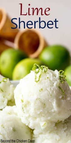 Homemade lime sherbet made with fresh squeezed limes lime zest sugar and milk. This makes a delicious tart lime treat. Cold Desserts, Frozen Desserts, Frozen Treats, Sherbet Recipes, Ice Cream Recipes, Lime Sorbet, Healthy Ice Cream, Nice Cream, Keto