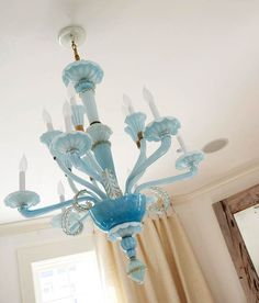 "Blue Venetian Glass Chandelier...gorgeous. ""Paint the sunroom chandelier and take off the baubles. :)"""