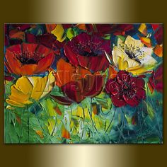 Modern Flower Canvas Oil Painting Poppy Poppies by willsonart, $95.00