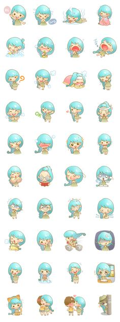 Little girl blue hair Stickers line 562x1500 px