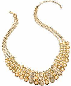 Charter Club Necklace, Gold-Tone Disc and Pave Drama Necklace