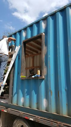 We built a Tiny house out of a shipping container welded on to a trailer. This was a partial build. Customer wanted it built to a functional level for him to be able to finish it himself. Container Shop, Cargo Container Homes, Building A Container Home, Building A Tiny House, Container Buildings, Container Architecture, Container House Plans, Container House Design, Sustainable Architecture