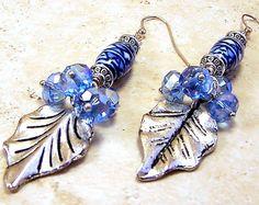 Earrings pierced womens jewelry blue white ceramic Bohemian gypsy dangle silver leaf denim blue Swarovski gems TAGT tenX on Etsy, $12.95
