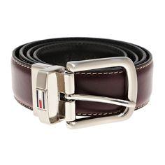 Tommy Hilfiger Mens Logo Leather Reversible Dress Belt In Black Brown 11tl08x014