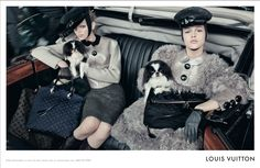Pekingese featured in  Louis Vuitton Autumn/Winter 2011 Campaign  These black and white parti-pekes  are perfect  accessories to these handbags! This is a winning ad to me!