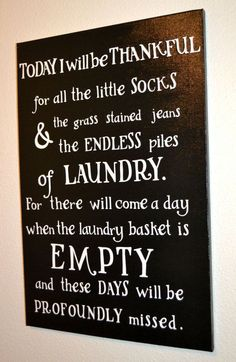 Loving Laundry Sign-Thankful for Laundry-Motherhood-Wall Decor