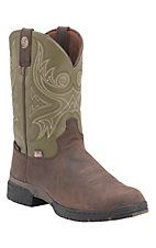 Justin Mens George Strait Oily Roasted Brown with Hunter Green Top Slip-On Waterproof Performance Boot
