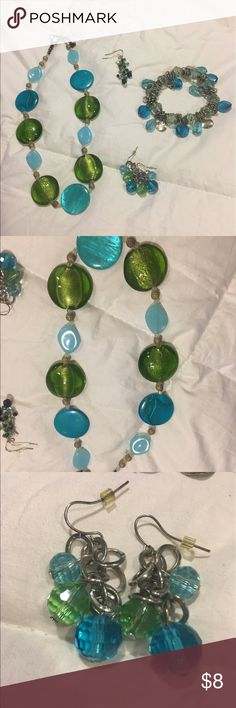 Blue and Green Jewelry Bundle 2 pairs of earrings, 1 bracelet and 1 necklace. All in gently-used condition. I can't quite remember the brands (sorry!) They work wonderfully with business attire, and even casual clothes! Jewelry