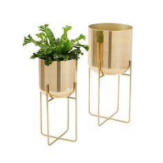 Spun Metal Standing Planter | west elm