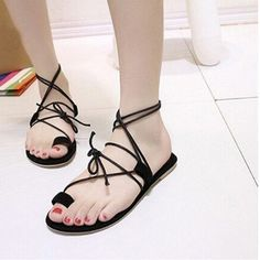 Retro Simple Lace Up Flat Clip Toe Sandals