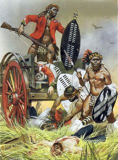 The battle of Isandawala - a major defeat for British troops at the beginning of the Zulu Wars. Military Art, Military History, Military Tactics, African Warrior Tattoos, South African Tribes, Black History, Art History, Zulu Warrior, South Afrika