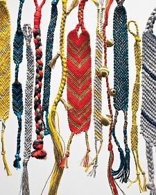 It's the same technique practiced by summer campers everywhere. But when fashioned in sophisticated colors and luxurious strings and yarns with metallic accents, these knotted bracelets become great adult accessories.