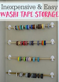 Tape Storage Looking for an inexpensive and easy storage solution for all of your washi tape? Definitely check out this option.Looking for an inexpensive and easy storage solution for all of your washi tape? Definitely check out this option. Craft Room Storage, Pegboard Craft Room, Craft Room Closet, Kitchen Pegboard, Pegboard Garage, Pegboard Display, Craft Storage Solutions, Closet Storage, Ikea Pegboard