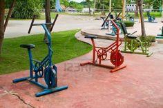 Exercise equipment in public park, Kanchanaburi,Thailand