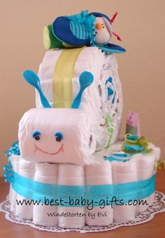 Unique Boy Diaper Cakes... instructions and photos of cute boy diaper gifts