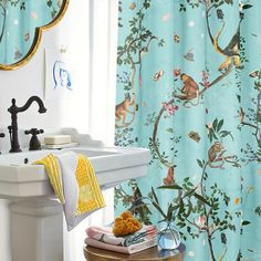 Susan was the first person to ask for a custom colour background; thanks to her the Monkey World print is now available in Aqua! With today 20% off on this shower curtain on my Society6 shop! . . . #fifikoussout #Society6 #print #monkey #aqua #customprint #homedecor Monkey World, Aqua, Curtains, Shower, Colour, Shopping, Home Decor, Rain Shower Heads, Color