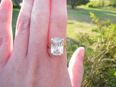 Glamorous 14K Gold Large Emerald Cut Ring  Super by Franziska, $350.00