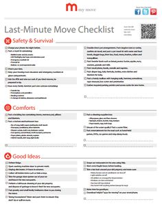 Last minute moving checklist.  This is actually a good one!