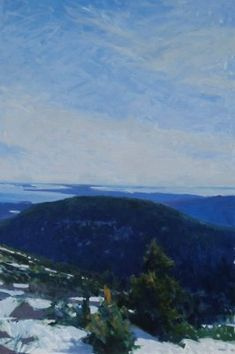 Frank Hobbs Oil on canvas. Softly busy sky. All about blue with some dark green. Soothing valley.