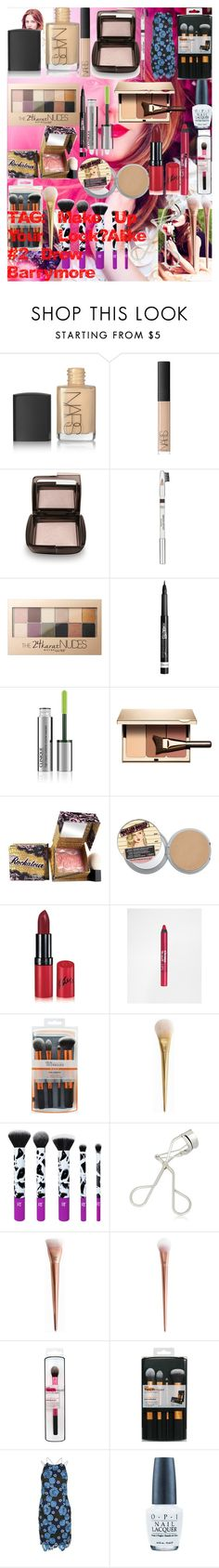 """""""TAG: Make Up Your Look-Alike #2 - Drew Barrymore"""" by oroartye-1 on Polyvore featuring beauty, NARS Cosmetics, Hourglass Cosmetics, L'Oréal Paris, Maybelline, Rimmel, Clinique, Clarins, Benefit and Barry M"""
