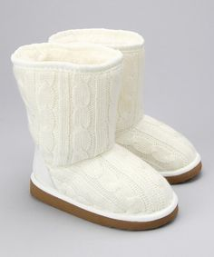 Take a look at this Launch Ivory Knit Boot by Luxe Looks: Kids' Faux Fur Shoes on #zulily today!