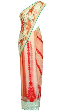 Beige and pastel green floral print red embroidered kalis saree with blouse piece available only at Pernia's Pop Up Shop..#perniaspopupshop #shopnow #newcollection l #festive #wedding #Vikramphadnisa#clothing