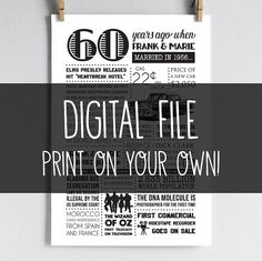 A fun personalized poster, including events and facts from 1956 as well as the name & wedding date! Perfect as a 60th Anniversary gift or party decoration | Digital File | Printable