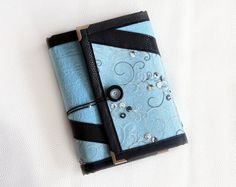 Lace blue black ring binder agenda/ organiser/ day planner/ notebook/ journal/ diary refillable A5 with inner pockets adorned by tulle