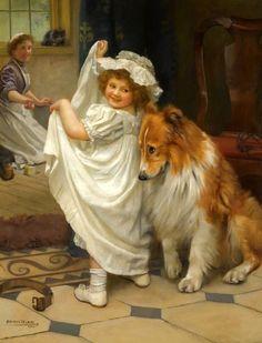 O pintor Arthur John Elsley Victorian Paintings, Victorian Art, Vintage Dog, Vintage Children, Art Children, Art Et Nature, Vintage Illustration, Munier, Dogs And Kids