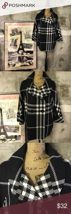 Focus 2000 black/white plaid pea Coat. Beautiful coat by Focus 2000. In perfect condition & a perfect addition to your winter wardrobe. Wool/acrylic/poly. Completely lined. Great black & white plaid. Focus 2000 Jackets & Coats Pea Coats