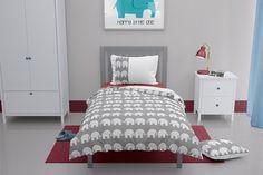 Grey elephant toddler duvet Elephant Cushion, Elephant Duvet Cover, Grey Elephant, Elephant Design, Elephant Print, Elephant Nursery, White Pillow Cases, White Pillows, Toddler Duvet Set
