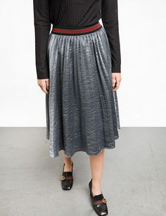 Grey Metallic Pleated Midi Skirt