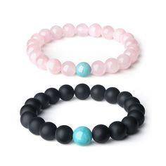 COAI® Gemstone Beaded Matte Onyx and Rose Quartz His and Hers Relationship Bracelet (2pcs)