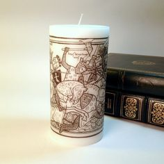 Knights in Battle Medieval Candle Black and White Woodcut