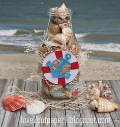 Decorated Glass Jar with Anchor