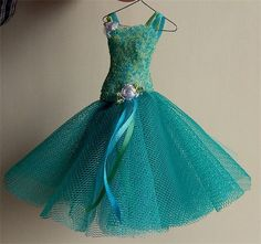 Seafoam. 1/12TH scale ballroom gown on hanger in green and turquoise.