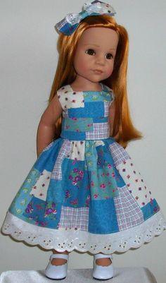 "Patchwork roses dress & hair bow fits 18-20"" Dolls Designafriend/Gotz hannah"