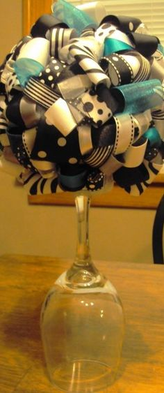 Tall Wine Glass Centerpieces | ... wedding colors to make a unique one-of-a-kind decorative centerpiece