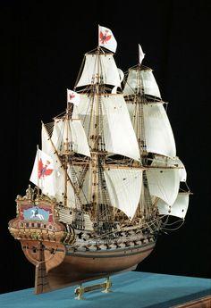 Выскококачественная фотография модели фрегата Fridrich Wilhelm zu Pferde