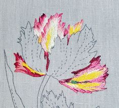 Hand Embroidery Stitches, Embroidery Needles, Hand Stitching, Long And Short Stitch, Thread Painting, Crochet Projects, Tulips, Hand Sewing, Needlework