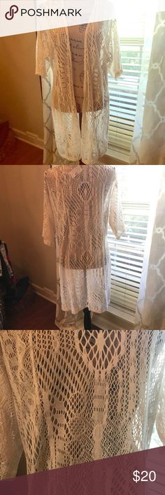 Maurices cardigan/cover up. Size Large NWT NWT short sleeve cream lace cover up.  Great over skimpy tops or bathing suit.  No tears,snags or stains. Very pretty. Maurices Tops Tees - Short Sleeve